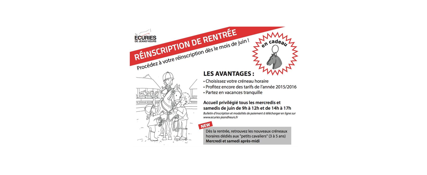 Ecuries Jeand'heurs Reinscription rentrée 2016